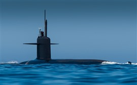 Submarine, blue sea