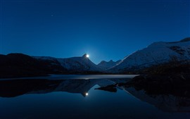 Preview wallpaper Sunset, lake, mountains, snow, water reflection, stars, dusk
