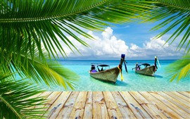 Preview wallpaper Thailand, two boats, pier, sea, palm tree leaves, summer