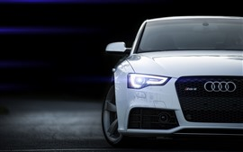 White Audi car front view, headlight