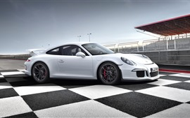 Preview wallpaper White Porsche 911 supercar side view