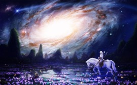 White horse, girl, flowers, swamp, galaxy, beautiful art picture