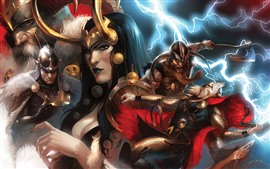 Preview wallpaper Art picture, Thor, lightning