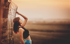 Asian girl, pose, fence, dusk