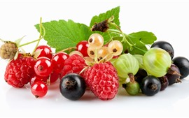 Berries, strawberry, currant, blueberry, white background