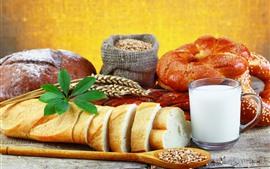 壁紙のプレビュー 朝食、パン、牛乳
