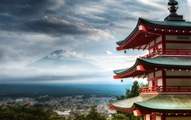 Preview wallpaper City, temple, top view, mountains, Japan