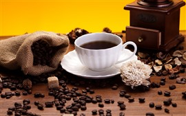 Preview wallpaper Coffee beans, white cup, flower