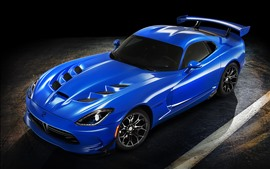Dodge supercar bleu, ombre