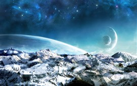 Preview wallpaper Dream world, planets, snow, space, beautiful