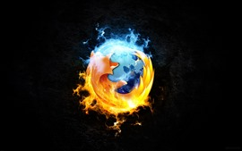 Logotipo do Firefox, fundo preto