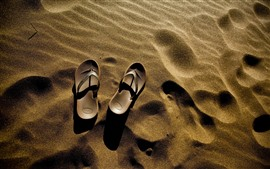 Preview wallpaper Flip flops, sand, beach