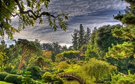 Preview wallpaper Garden, trees, grass, bridge, green, clouds