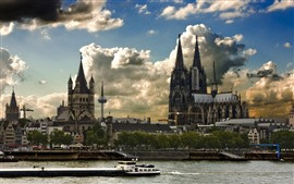 Preview wallpaper Germany, Cologne, buildings, river, boat, city, clouds, dusk