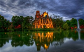 Germany, cathedral, fountain, pond, trees, dusk