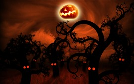 Halloween, trees, pumpkin, night, creative picture