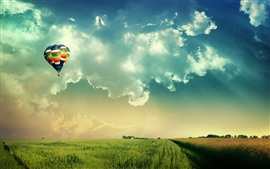 Preview wallpaper Hot air balloon, fields, sky, clouds
