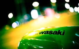 Preview wallpaper Kawasaki, logo, night, light circles