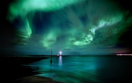 Preview wallpaper Lighthouse, northern lights, sea, beautiful sky, night