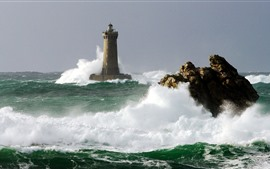 Lighthouse, sea waves, water splash, foam
