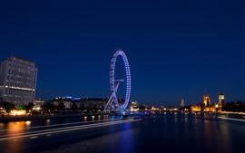 Night, river, ferris wheel, lights, England, London