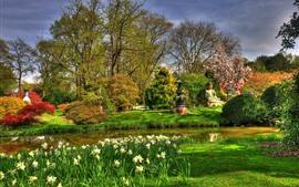 壁紙のプレビュー 公園、仏像、木、花、池