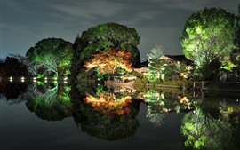 Парк, ночь, деревья, огни, лодка, озеро