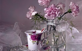 Pink carnations, flowers, vase, tea