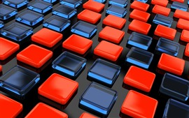 미리보기 배경 화면 빨간색과 파란색 큐브, 3D 그림