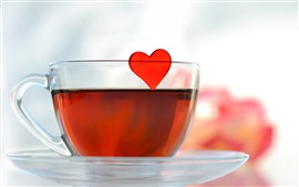 Preview wallpaper Red tea, glass cup, love heart