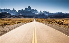 Road, peaks, snow, grass