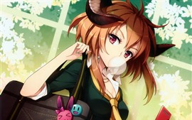 Preview wallpaper Short hair anime girl, look, handbag