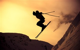 Preview wallpaper Ski, silhouette, sport, snow