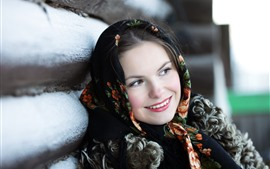 Preview wallpaper Smile girl, scarf, winter, fence