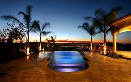 Piscina, palmeiras, noite, resort