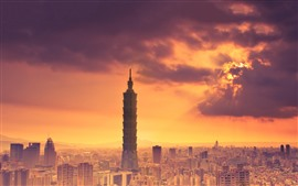 Taiwan, skyscrapers, city, sunset, clouds, sky