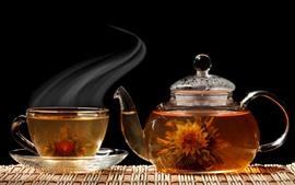 Vorschau des Hintergrundbilder Tee, Wasserkocher, Glas, Dampf