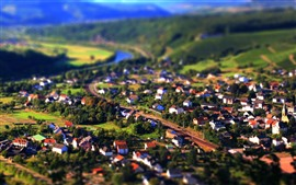 Preview wallpaper Tilt-shift photography, countryside, town
