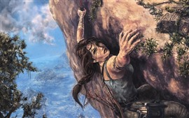Preview wallpaper Tomb Raider, Lara Croft, climb, art painting
