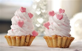 Two cupcakes, cream, love heart