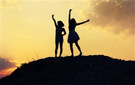 Preview wallpaper Two girls, dance, pose, silhouette