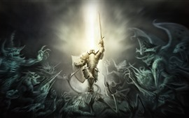 Preview wallpaper Warrior, armor, monster, creative picture