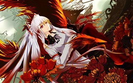 Preview wallpaper White hair anime girl, flowers