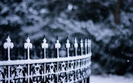 Winter, fence, snow, hazy