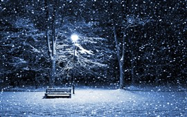 Preview wallpaper Winter, snow, night, bench, trees, lights
