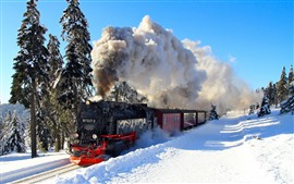 Winter, train, snow, smoke