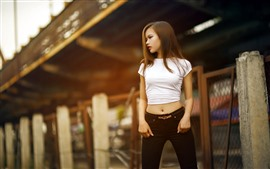 Preview wallpaper Young asian girl, long hair