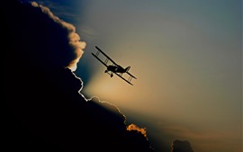 Preview wallpaper Aircraft, silhouette, flight, sky, clouds