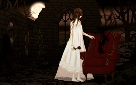 Preview wallpaper Anime girl, vampire, sofa, rose