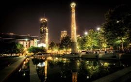 Atlanta, torre, luces, parque, piscina, noche, Estados Unidos